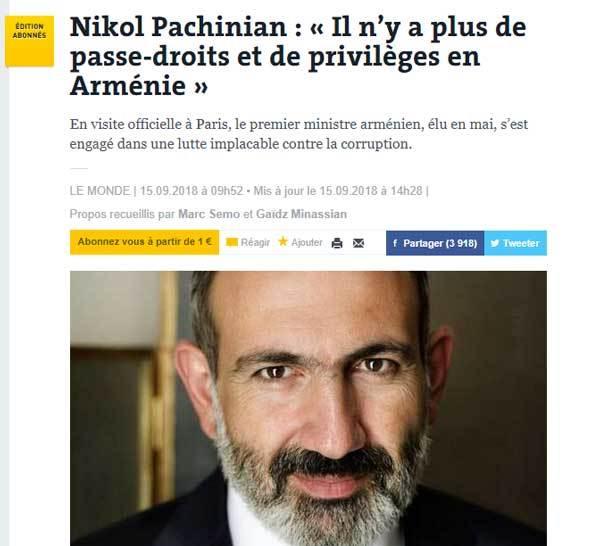 Փաշինյանի հարցազրույցը տեղ է գտել Ֆրանսիական ամենաընթերցվող և ամենաշատ բաժանորդ ունեցող օրաթերթում